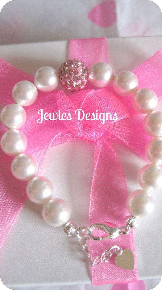 Infant Jewelry SWAROVSKI  Baby bracelet Baptism by JewlesDesigns