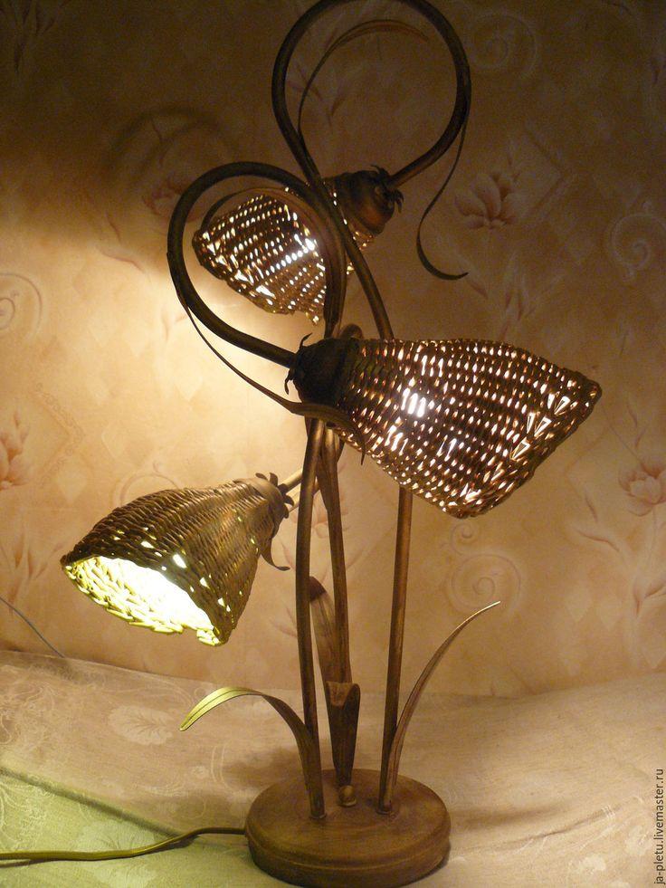 Купить Светильник Колокольчики - бежевый, реставрация светильника, реставрация, плетеный светильник, плетеное бра
