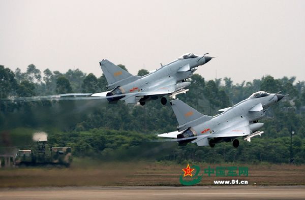 Chengdu J-10. An aviation troop unit of the air force under the Guangzhou Military Area Command (MAC) of the Chinese People's Liberation Army (PLA) conducted flight training at an airport in the eastern part of south China's Guangdong province on November 27, 2014. (Chinamil.com.cn/Shen Ling)