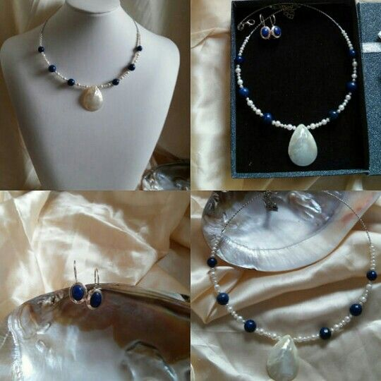 Lapis lazuli  and ivory pearls necklace.