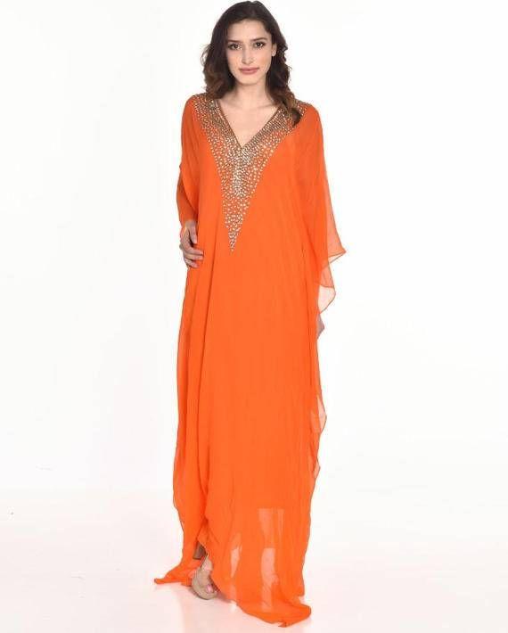 d01ad50e849e long kaftan dress BEACH caftan maxi dress in orange embroidered caftan wedding  dress abaya evening dress clothing gifts | caftam | Long kaftan dress, ...