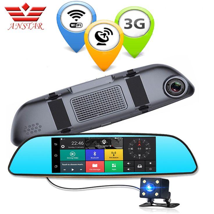 Anstar 7 inch 3g kamera gps bluetooth dual lensa mobil dvr FHD 1080 P Mobil DVR Cermin spion Cermin Perekam Video Dash cam