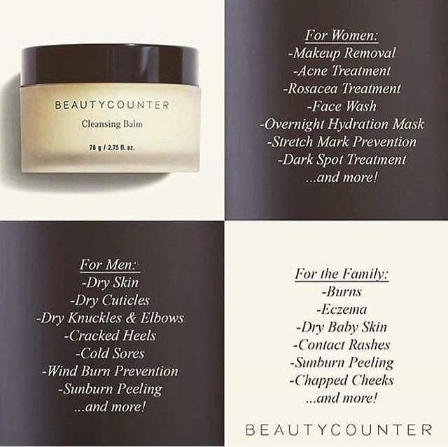 """Featuring Beautycounter's Cleansing Balm (a.k.a. THE BOMB)! It's basically a wonder product that nourishes hydrates brightens and heals the skin. It has so many uses! """"Martha Stewart Weddings"""" magazine named it the single best pre-wedding-day skincare product last year!!!  You can purchase our award-winning Cleansing Balm by going to the link in my profile! And feel free to reach out with questions!"""