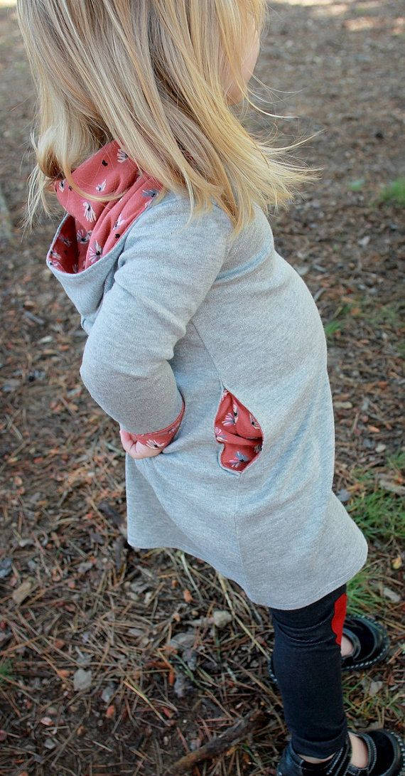 Girls Gray and Pink Pocket Dress with Hood.Girls dress.Sweater Dress.Toddler Clothing.Toddler Dress..Childrens Clothing.Baby Dress. 2T 3T 4T...