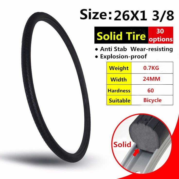 26*1 3/8 Black MTB Solid Fixed Gear Road Bike Tire Bicycle Tire Cycling Tubeless Tyre. Click visit to buy