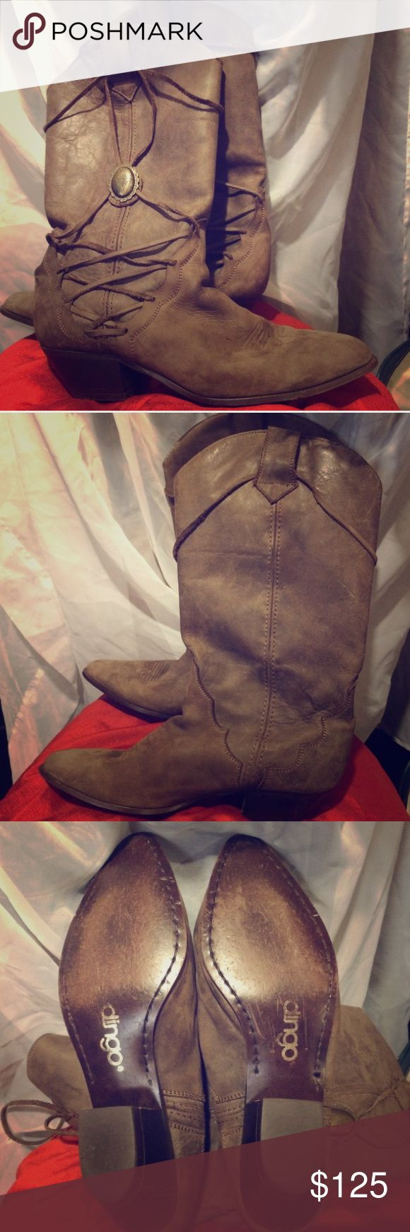 Rare Vintage Dingo Boots Brown distressed leather western boots with lace up side accent by Dingo. Rare and hard to find boots! Size 7 Dingo Shoes