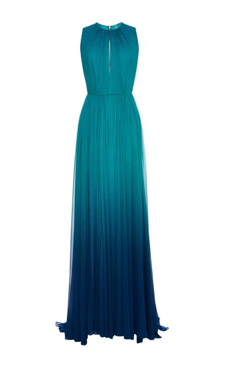 Elie Saab Turquoise Degrade Silk Georgette Dress Turquoise