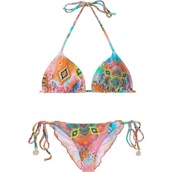 Luli Fama Scrunch Bikini Set In A Multicoloured Print - Boho Chic ($170) ❤ liked on Polyvore featuring swimwear, bikinis, orange, orange bikini swimwear, bikini two piece, orange bikini, scrunch bikini and bohemian bikini swimwear