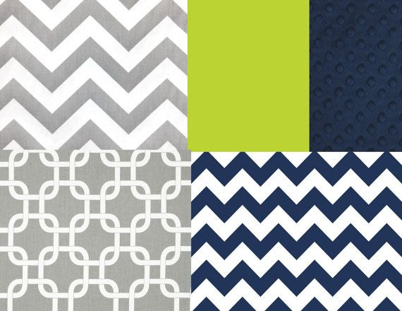 Navy Green and Gray Crib Bedding Set