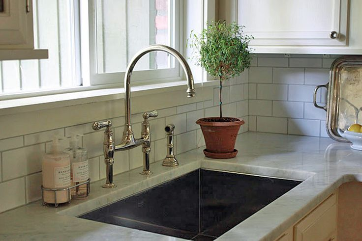 rohl kitchen faucets sink installation detail of contrasting grout (grout: polyblend, color ...