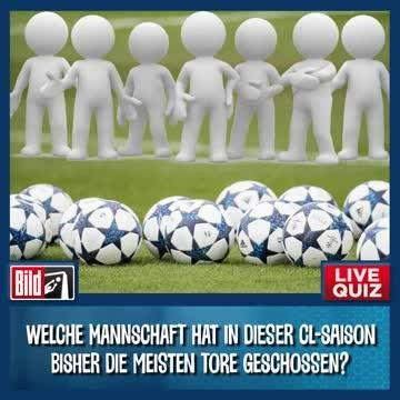 JETZT MITMACHEN! BEIM LIVE-FUSSBALL-QUIZ ZUR CHAMPIONS LEAGUE und einen von drei Gutscheinen für den BILD-Shop gewinnen!!