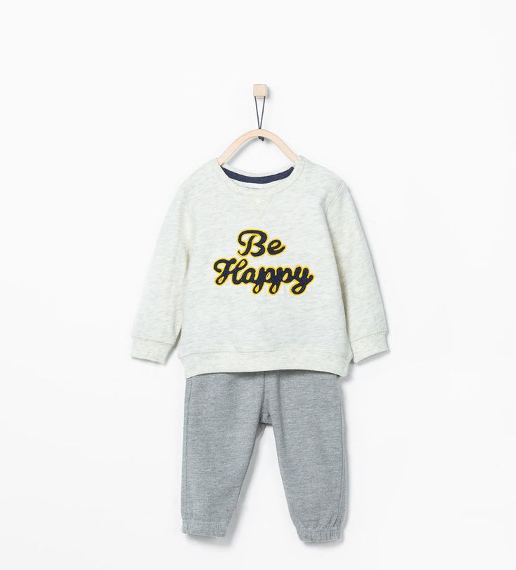 """Be happy""ツーピースジャージ-Shop by look-ベビーボーイ ( 3ヶ月- 3歳)-キッズ   ZARA 日本"