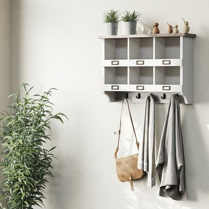 Austin white 6 hole wall storage rack