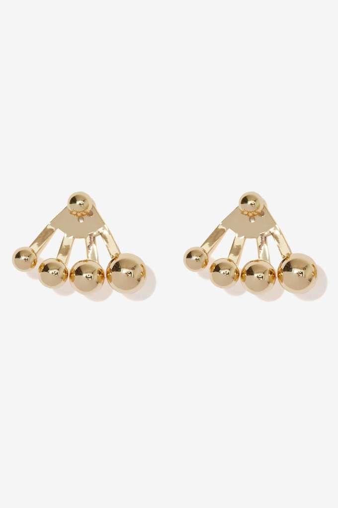Gold Up Ear Jacket Earrings