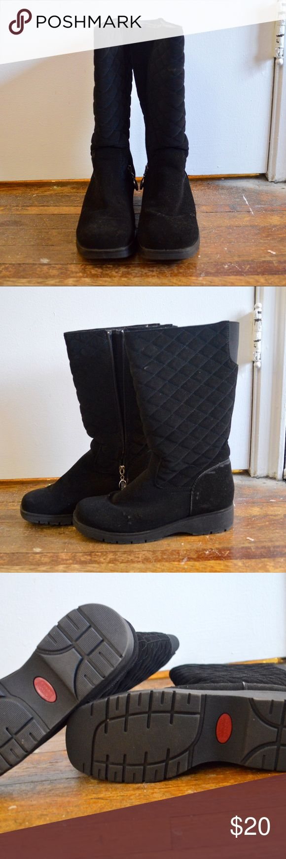 Quilted-Patterned Boots Quilted-patterned boots Black fuzzy boots with a quilted pattern on them & zippered closure Size 10 NWOT Boston Accent Shoes Winter & Rain Boots