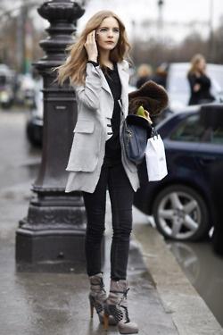 long coat, booties, and black skines
