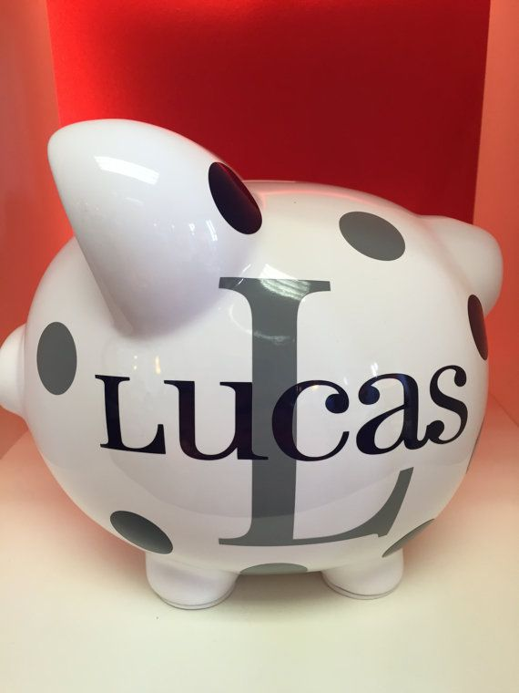 Children's Personalized Ceramic Piggy Bank-Piggy by LaTiDaGifts