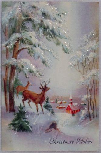 Deer in the Glittered Woods-Vintage Christmas Greeting Card