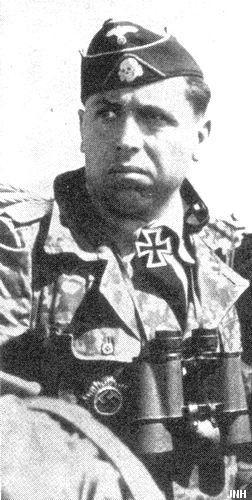 "✠ Georg Schönberger (21 December 1911 - 20 November 1943) RK 20.12.1943 SS-Obersturmbannführer Kdr SS-Pz.Rgt 1 ""LSSAH"" Killed in action by artillery shrapnel in the Zhitomir fighting."