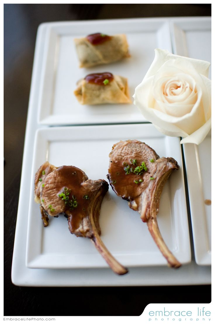 Grilled Baby Lamb Chops with New Zealand Mint and Red Wine Syrup & Duck Confit Eggrolls with Pineapple Ponzu Sauce - The Sunset Restaurant - Special Events, Beach Weddings - Malibu, California - Credit: EmbraceLifePhoto.com