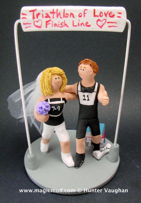 Triathlon Wedding Cake Topper    Triathlon Wedding Cake Topper custom created for you! Perfect for marriage of a Triathlon Running Groom and his Bride!    $235   #magicmud   1 800 231 9814   www.magicmud.com