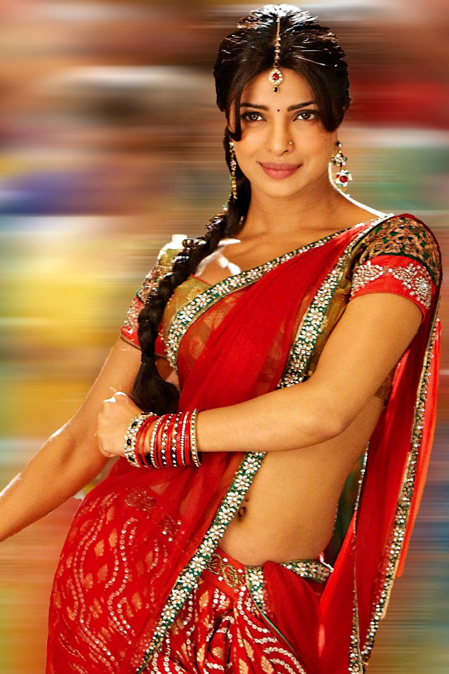 Priyanka Chopra - smashing red saree i have similar red saree but blouse is red and black  i need a orange blouse with my saree  lol i love sarees , can't to buy more for myself