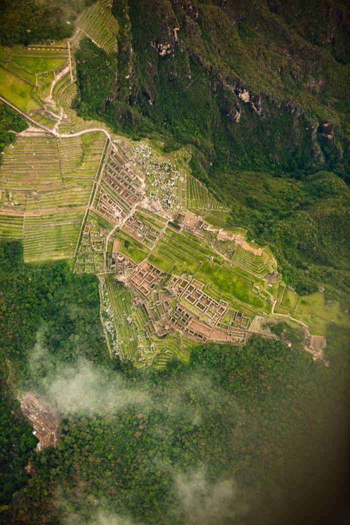 Peru. A very rare overhead shot of Machu Picchu