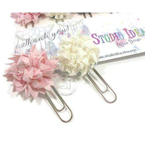 Set of 6 flower paper clips Pink & White Paper Flower Planner