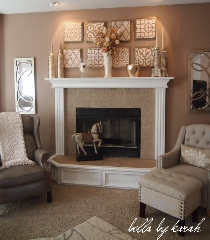 I i could only convince my husband not to put the TV there!! fireplace decor - fabric or stencil paint