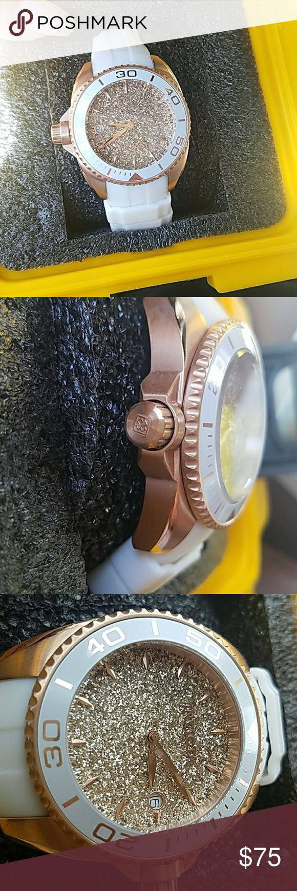 Women's invicta watch. Brand new without tags Gorgeous white and rose gold. Silicone white strap and glitter rose gold face! Invicta Accessories Watches