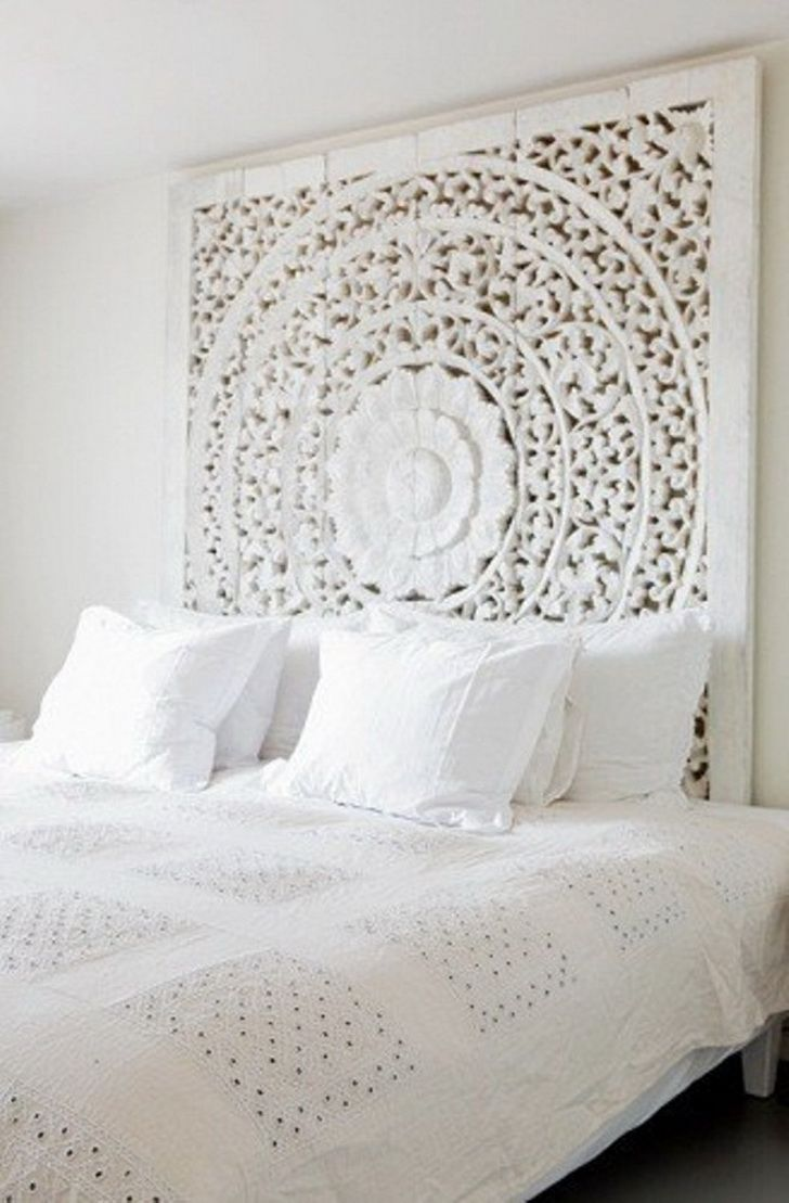 All White Master bedroom, ceiling rose used as a bed head incorporating the history of the victorian terrace into the room