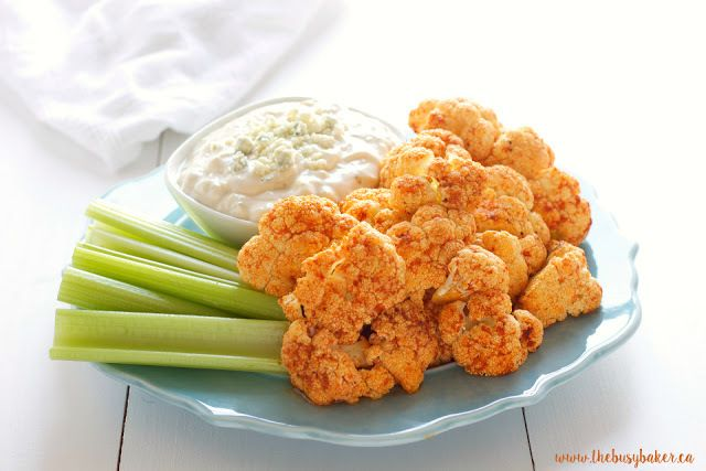 Buffalo Roasted Cauliflower with Blue Cheese Dipping Sauce via The ...