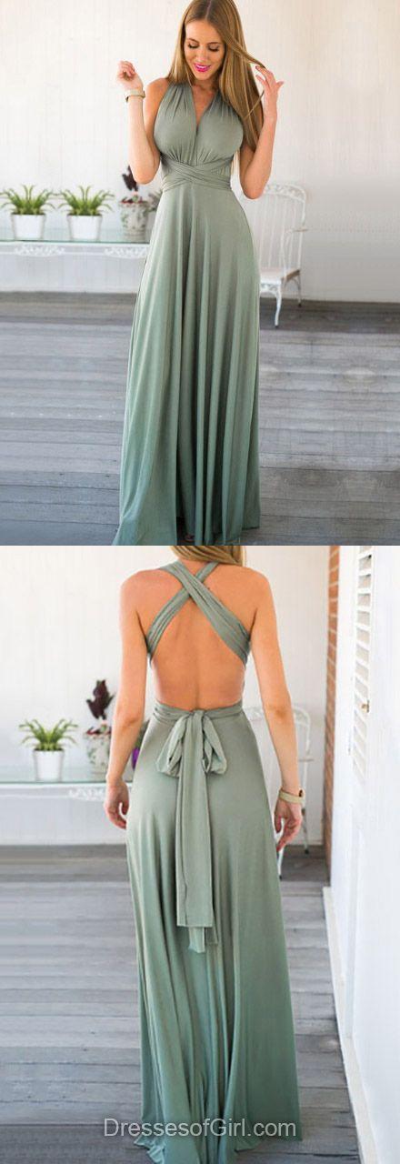 A-line V-neck Chiffon Floor-length Ruffles Backless Casual Prom Dress