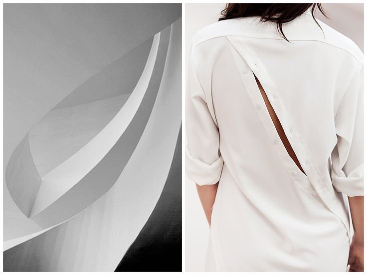 Inspiration behind Elena Ciuprina Spring 2015 collection.Spiral shirtdress back split.