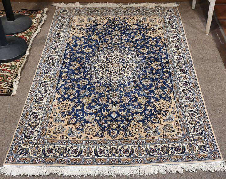 Persian Nain part silk carpet, 4' x 6' | C…
