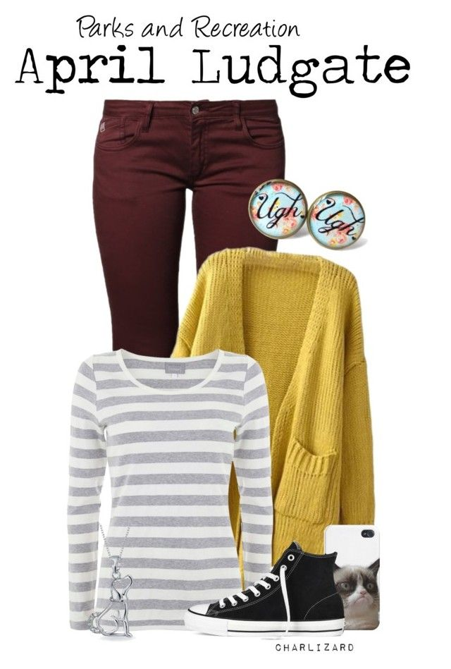 April Ludgate by charlizard on Polyvore featuring Mint Velvet, Le Temps Des Cerises, Converse, Bling Jewelry, TV, parksandrec, parksandrecreation, aprilludgate and aubreyplaza