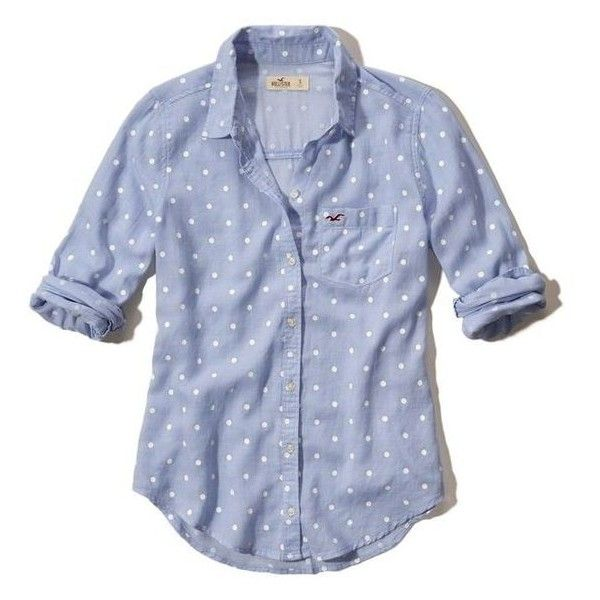Hollister Polka-Dot Oxford Pocket Shirt ❤ liked on Polyvore featuring tops, oxford shirts, polka dot top, cotton shirts, dotted shirts and blue oxford shirt
