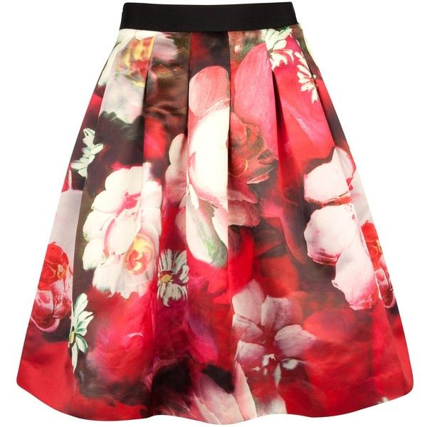 Ted Baker Monny Rose on Canvas Full Skirt, Bright Pink (230 CAD) found on Polyvore