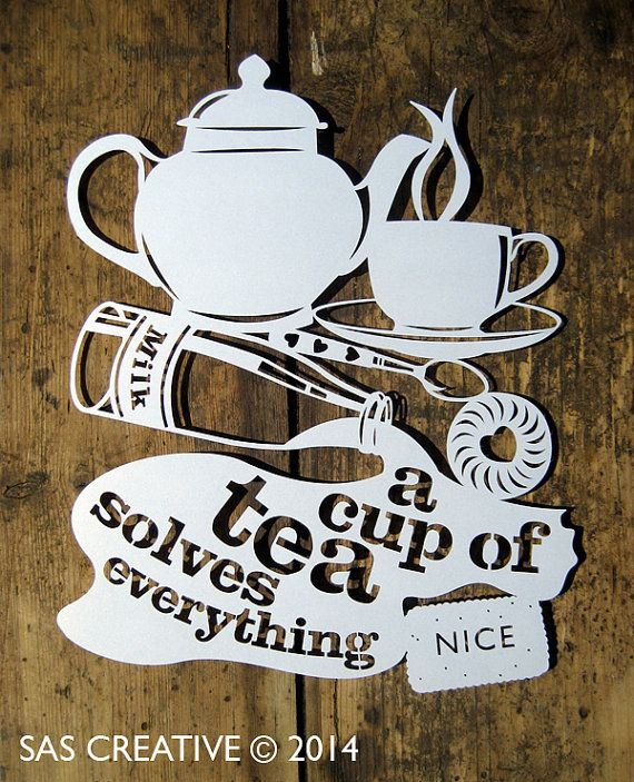 Papercut Template PDF 'A Cup of Tea Solves by SASCreative on Etsy