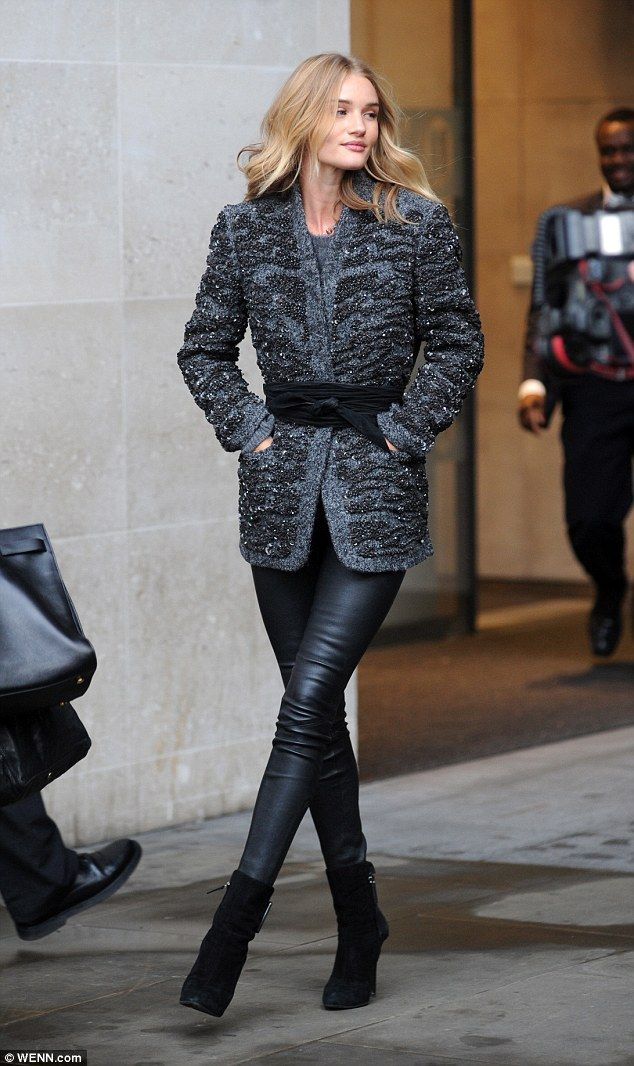 Rosie Huntington-Whiteley.. Isabel Marant - Jacket and Wrap-Around Belt; and Paige Daphne Ankle Zip Leather Trousers..