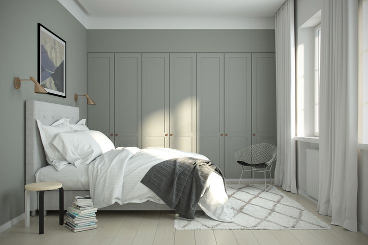 IKEA PAX Wardrobe Hacks  SemiHandmade is Scandinavian A.S. Helsingo, which creates doors to fit IKEA wardrobes. Their room above takes it a step further by painting the cabinets the same color as the walls, which unifies everything further.