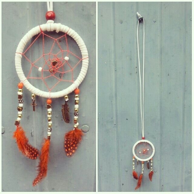 handmade dreamcatcher necklace using faux suede thread, embroidery thread, beads,charms and feathers