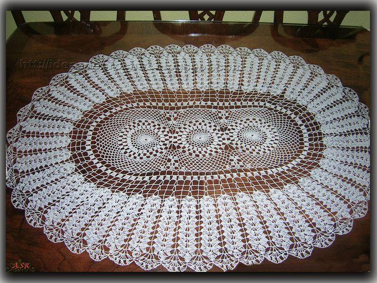 Centro de mesa ovalado manteles y tapetes a crochet - Centros de mesa de ganchillo ...