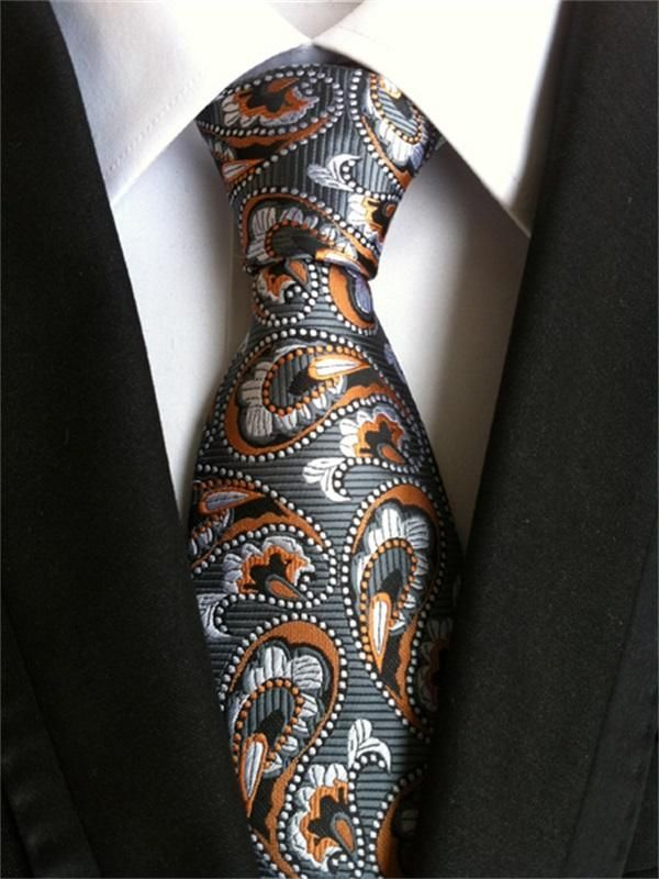Black Tie Orange and Blue Paisley Patterned Handmade 100/% Silk Skinny Wedding