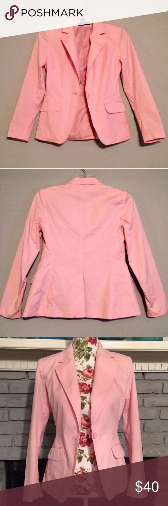"NY&Co Pink Blazer Jacket Padded Workwear Chic EUC! Beautiful light pink blazer jacket by New York & Company. Has shoulder pads for a little structure. Adult size 2. Classic lapels, one-button front closure, split back. Two faux front pockets. Approx 22"" length from shoulder to hem. No trades/holds. New York & Company Jackets & Coats Blazers"