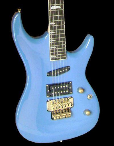 Fishbone GUITAR with Floyd TREMOLO 6 String BLUE GOLD -KR