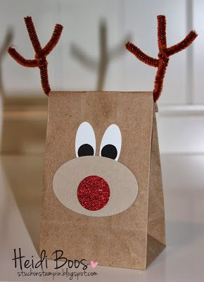 cute reindeer punch art gift bag!