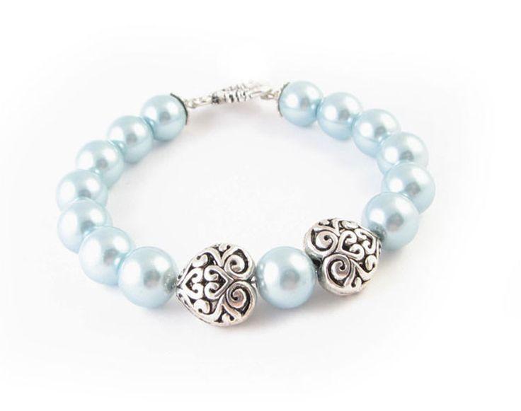 Blue Pearl Heart Charm Handmade Bracelet