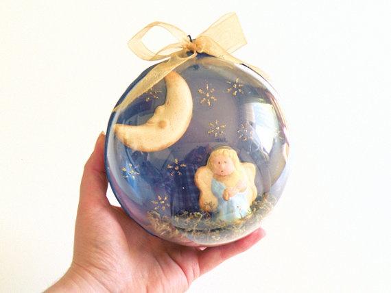 MOON ANGEL BALL Christmas Ornament by Biberta on Etsy, 40.00