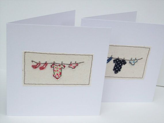 New Baby Girl Card  Embroidered Card by Nikelcards on Etsy